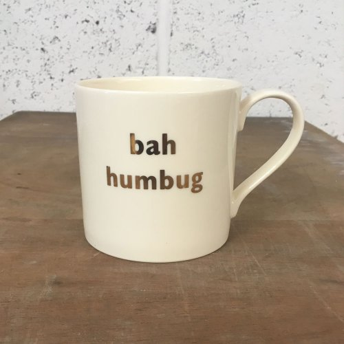 WAREHOUSE SALE! 22 CARAT GOLD BAH HUMBUG MUG