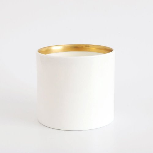BESPOKE WHITE BONE CHINA SMALL PEN POT WITH ANTIQUE GOLD TRIM