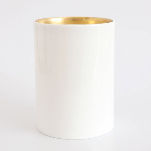 CUSTOMISE WHITE BONE CHINA 22CT GOLD LARGE PEN POT