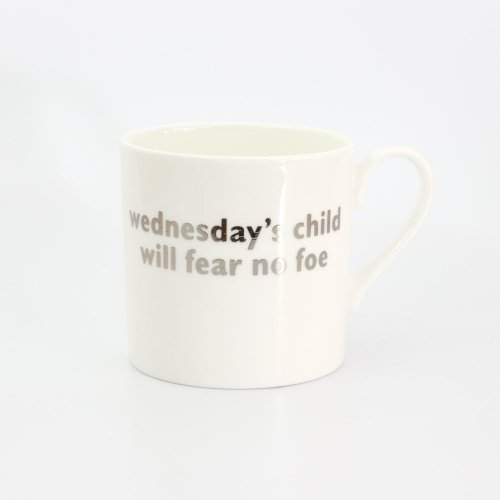 WEDNESDAY'S CHILD PLATINUM MUG