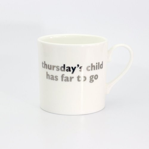 THURSDAY'S CHILD PLATINUM MUG