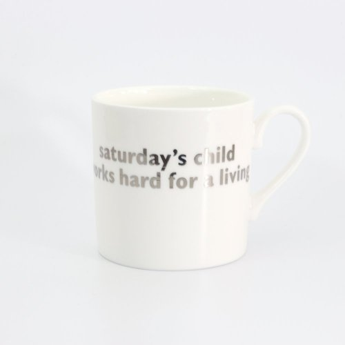 SATURDAY'S CHILD PLATINUM MUG