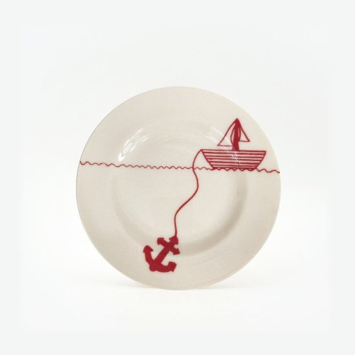 RED HELLO SAILOR SMALL PLATE