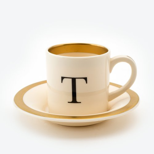 BASKERVILLE LETTER T ESPRESSO CUP AND SAUCER
