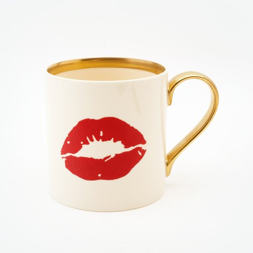 22CT GOLD RED LIPS MUG