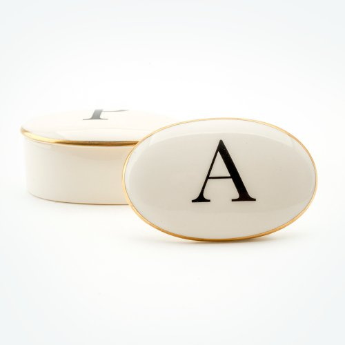 BASKERVILLE LETTER A 22CT GOLD TRINKET BOX