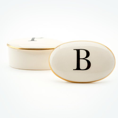 BASKERVILLE LETTER B 22CT GOLD TRINKET BOX