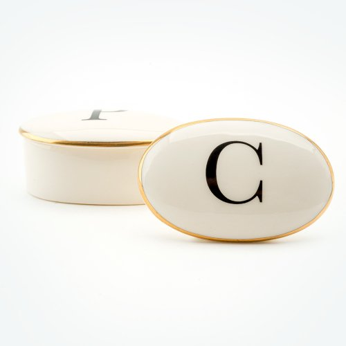 BASKERVILLE LETTER C 22CT GOLD TRINKET BOX