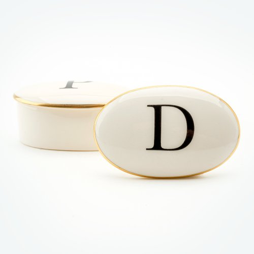 BASKERVILLE LETTER D 22CT GOLD TRINKET BOX