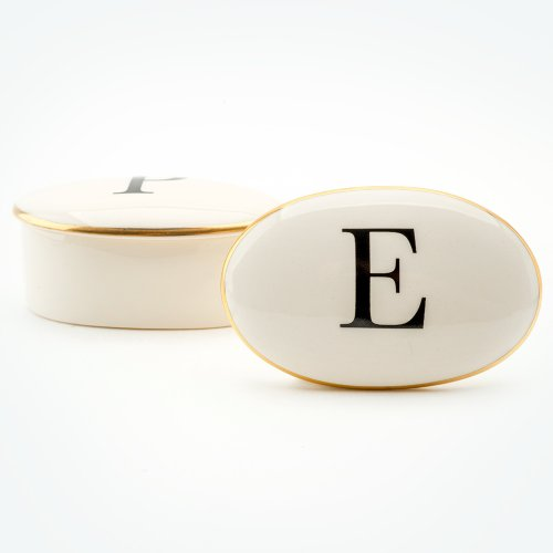 BASKERVILLE LETTER E 22CT GOLD TRINKET BOX
