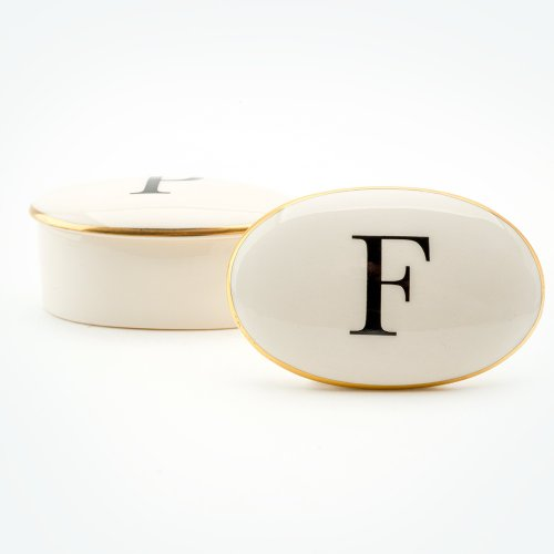 BASKERVILLE LETTER F 22CT GOLD TRINKET BOX