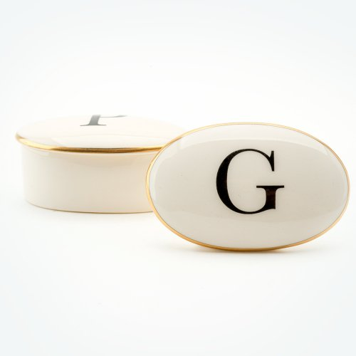 BASKERVILLE LETTER G 22CT GOLD TRINKET BOX