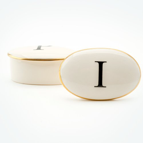 BASKERVILLE LETTER I 22CT GOLD TRINKET BOX