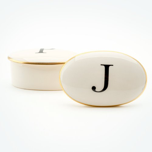 BASKERVILLE LETTER J 22CT GOLD TRINKET BOX