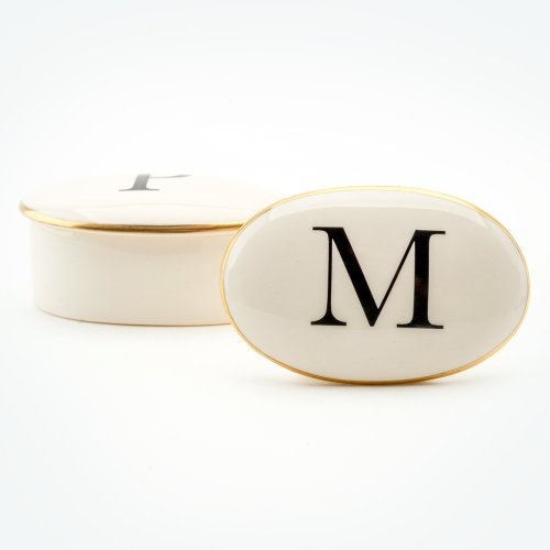 BASKERVILLE LETTER M 22CT GOLD TRINKET BOX