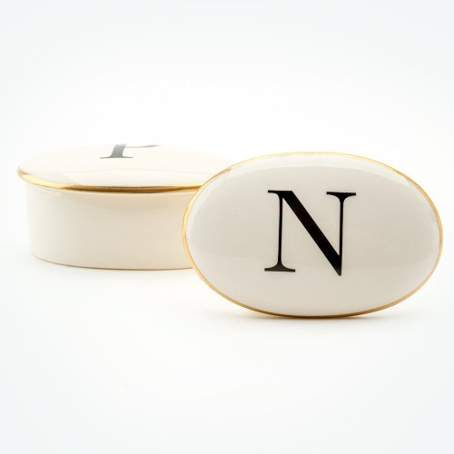 BASKERVILLE LETTER N 22CT GOLD TRINKET BOX