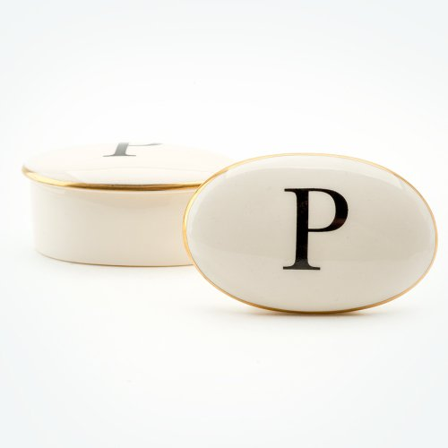 BASKERVILLE LETTER P 22CT GOLD TRINKET BOX