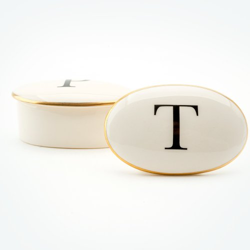 BASKERVILLE LETTER T 22CT GOLD TRINKET BOX