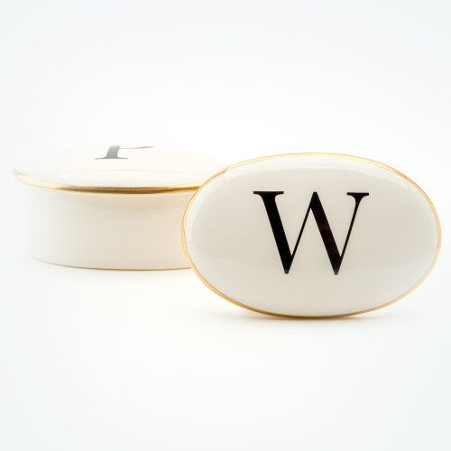 BASKERVILLE LETTER W 22CT GOLD TRINKET BOX