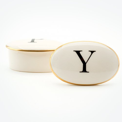 BASKERVILLE LETTER Y 22CT GOLD TRINKET BOX