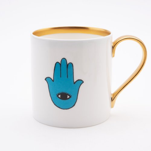 BLUE EYED HAND 22CT GOLD MUG