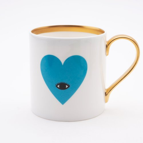 BLUE EYED HEART 22CT GOLD MUG