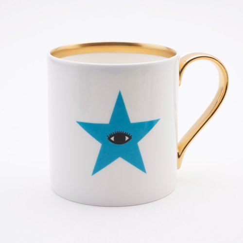 BLUE EYED STAR 22CT GOLD MUG