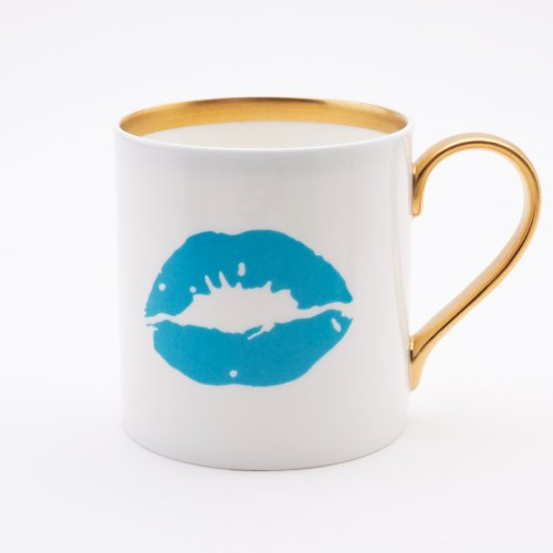 BLUE KISS 22CT GOLD MUG