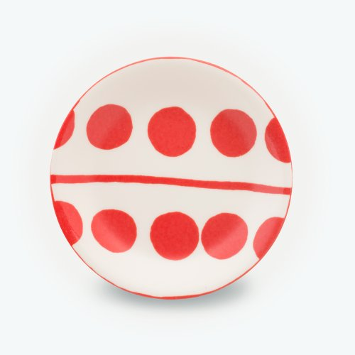 VERMILLION CIRCLE CREAM PLATE