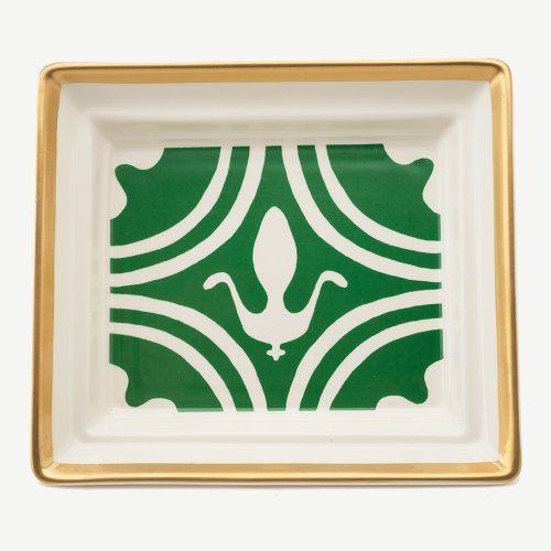 FLEUR DE LYS  DARK GREEN HALL TRAY