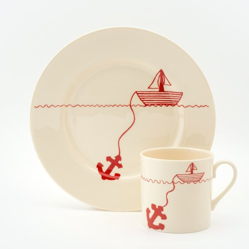 RED HELLO SAILOR CAKE PLATE & MUG SET