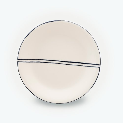 BLACK SEMI CIRCLE CREAM PLATE