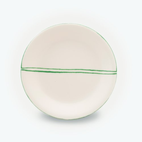 GREEN SEMI CIRCLE CREAM PLATE