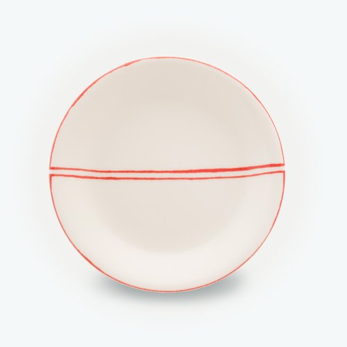 VERMILLION SEMI CIRCLE CREAM PLATE