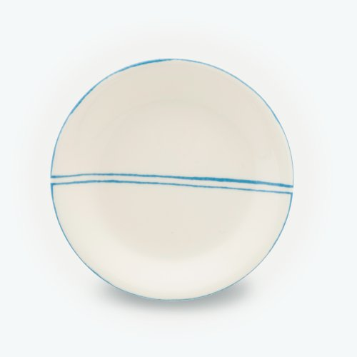 TURQUOISE SEMI CIRCLE CREAM PLATE