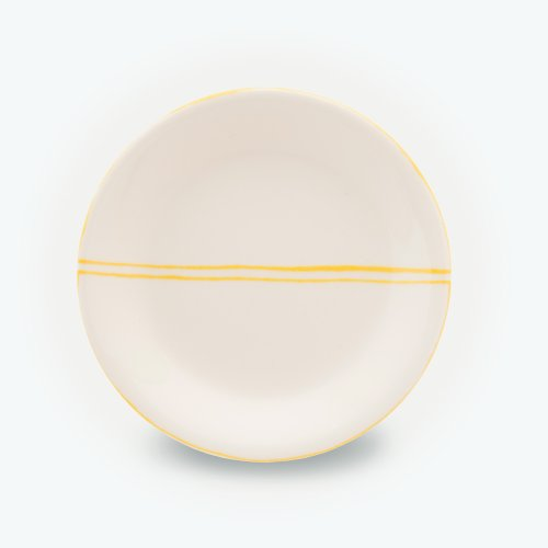 YELLOW SEMI CIRCLE CREAM PLATE