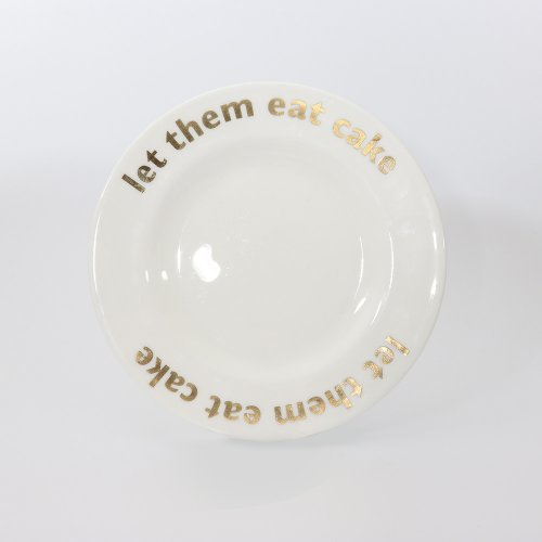 GOLD LET THEM EAT CAKE PLATE