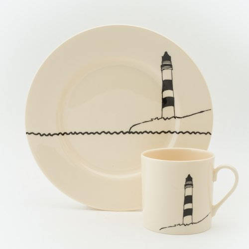 BLACK LIGHTHOUSE CAKE PLATE & MUG SET