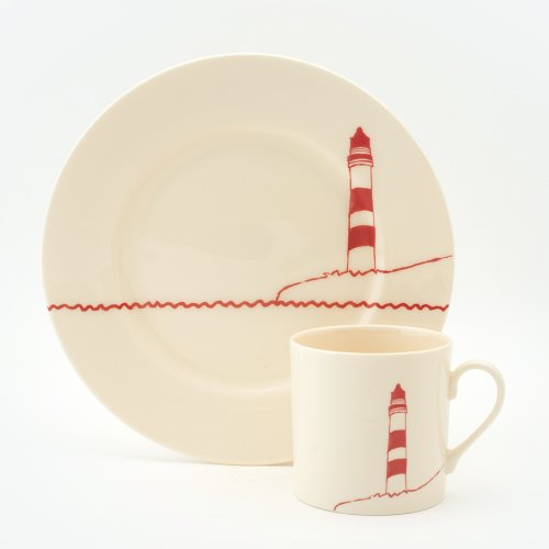 RED LIGHTHOUSE CAKE PLATE & MUG SET