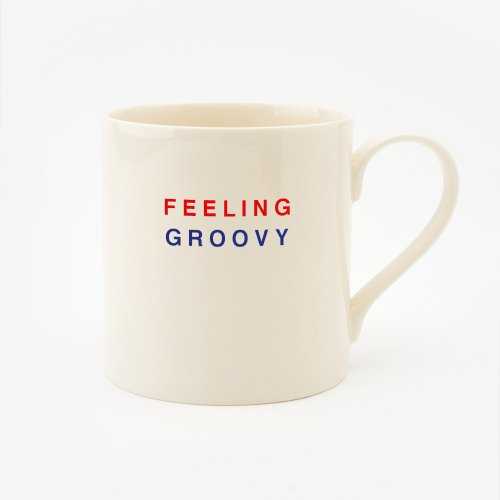 RED, CREAM & BLUE FEELING GROOVY STRAIGHT MUG