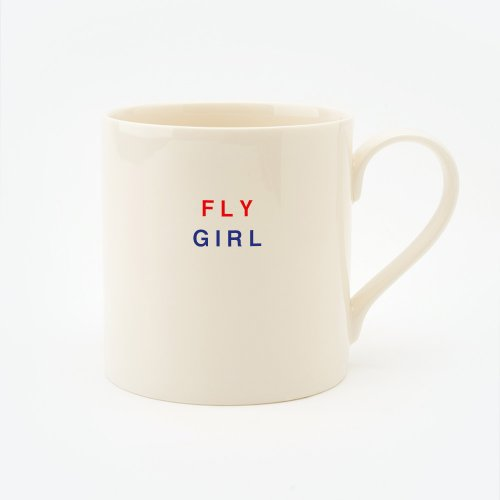 RED, CREAM & BLUE FLY GIRL STRAIGHT MUG