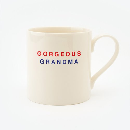 RED, CREAM & BLUE GORGEOUS GRANDMA STRAIGHT MUG