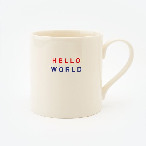 RED, CREAM & BLUE HELLO WORLD STRAIGHT MUG