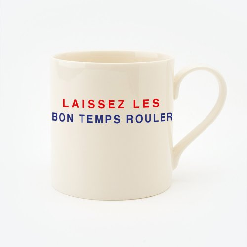 RED, CREAM & BLUE LAISSEZ LES BON TEMPS ROULER STRAIGHT MUG