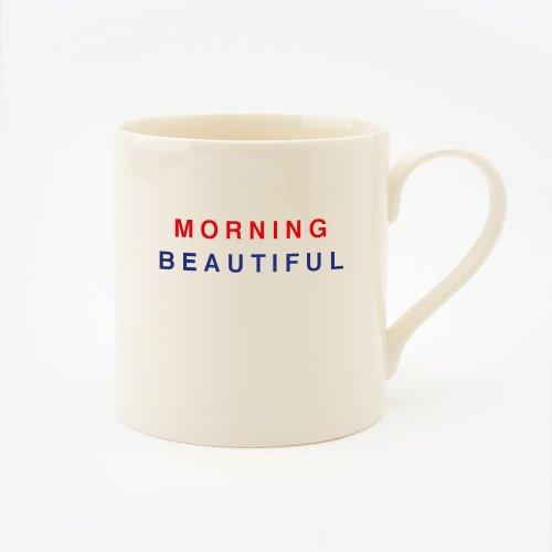 RED, CREAM & BLUE MORNING BEAUTIFUL STRAIGHT MUG