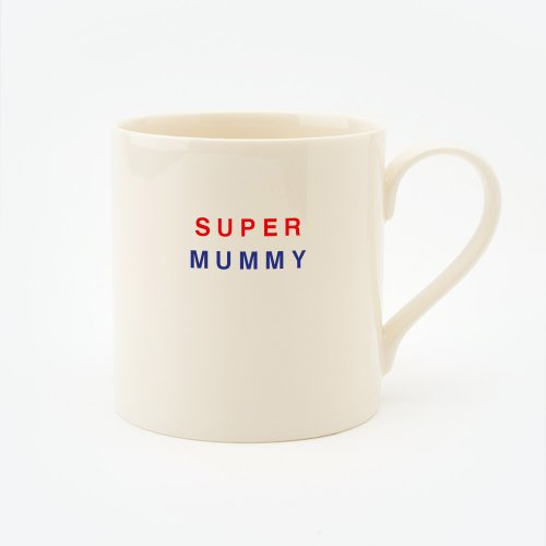 RED, CREAM & BLUE SUPER MUMMY STRAIGHT MUG