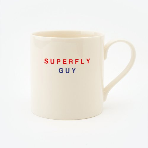 RED, CREAM & BLUE SUPERFLY GUY STRAIGHT MUG