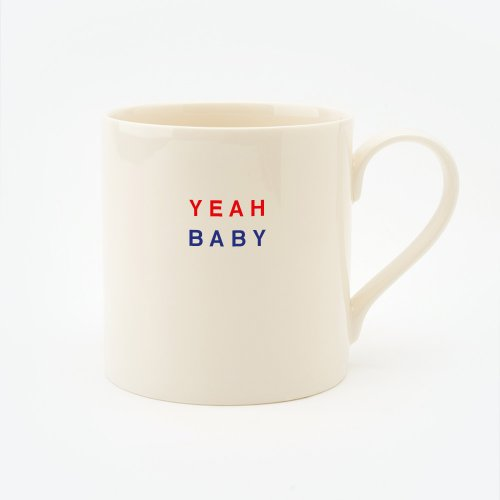 RED, CREAM & BLUE YEAH BABY STRAIGHT MUG