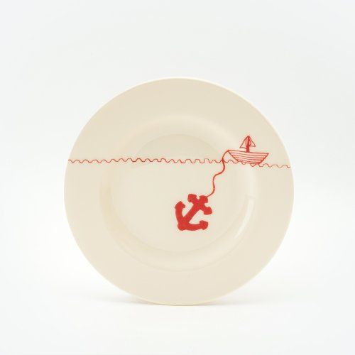 RED HELLO SAILOR SIDE PLATE
