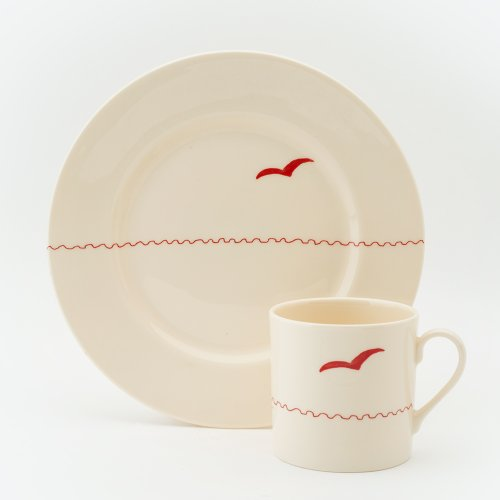 RED SEAGULL CAKE PLATE & MUG SET